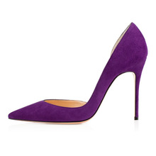 Amourplato Women's Charming High Heel Pumps Closed Toe Suede Shoes D'orsay Slip On  Shoe Purple