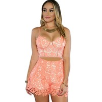 2color 2 Pcs Woman Sets Shorts 2016 New Sexy Club Clothes Online Summer Crop Top And