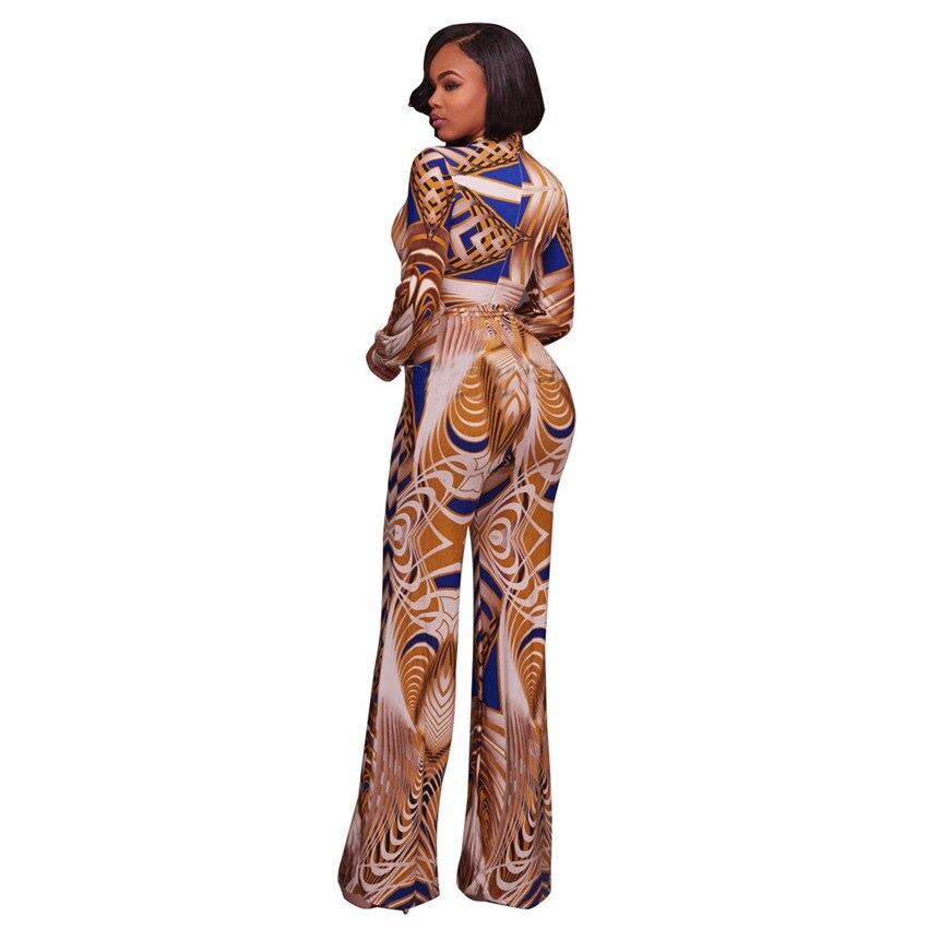 fea923a3cc Tsuretobe Plus Size Dashiki Print Jumpsuit Womens Lange Mouw Rompertjes  Herfst Winter Diepe V Elegante Jumpsuit Wijde Pijpen Overalls in Tsuretobe  Plus Size ...