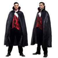 Free Shipping Adult Man Vampire Costume For Halloween Masquerade Party Ghost Devil Fancy Dress Cosplay Clothes