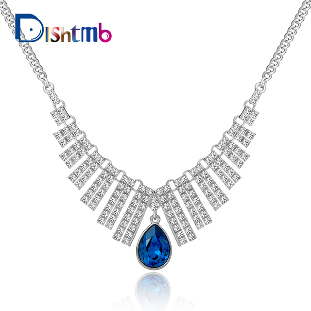 5d961bf253b Fashion Jewelry Blue Crystal Water Drop Pendant Necklace Silver Plated  Rhinestone Statement Necklaces & Pendants For