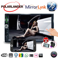 2 Din 7 Inch Mirror Link Screen Car Radio MP5 Player Bluetooth Touch Screen USB With Camera Mirror For Android Phone 9 Languages