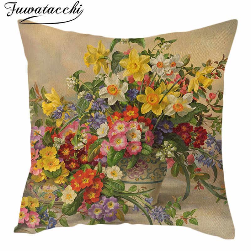 Fuwatacchi винтажная картина маслом наволочка для подушки с цветами Европейский ретро птицы и цветы арт бежевый чехол для подушки льняная наволочка