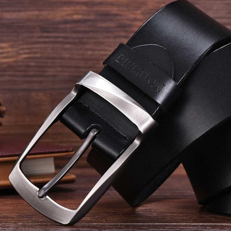 Dinisiton Paduan Pin Gesper Sabuk Kulit Sapi Belt Pria Kulit Asli Kualitas Tinggi Vintage Jeans Belt Cinturones Hombre Gratis Pengiriman