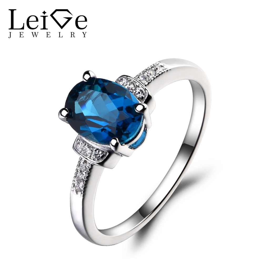 Leige Jewelry London Blue Topaz 925 Sterling Silver Ring Oval Cut Gemstone Birthstone Promise Engagement Rings Jewelry for Women leige jewelry swiss blue topaz ring oval shaped engagement promise rings for women 925 sterling silver blue gemstone jewelry
