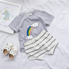 9dcd073b3 Clearance Boys Rainbow T Shirt Boys Summer Cute Tees Toddler Boy Gray  Pattern Tops Children Summer
