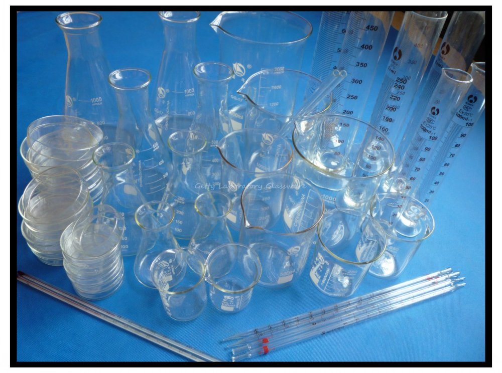 Лаборатория Стекло ware комплект, Pyrex Стекло Материал (Пробирки лабораторные, Эрленмейера, мерный цилиндр, Чашки Петри, термометр)