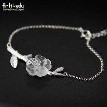 Artilady 925 серебряных ручной хрустальный цветок браслет мода стерлингового серебра 925 браслет для женщин ювелирных изделий партии