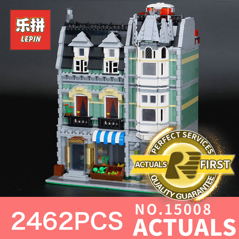 Lepin 15008 2462Pcs Green Grocer Model Compatible 10185 City Street Building Kits Bricks Educational toys Blocks Children Gift in stock 2462pcs free shipping lepin 15008 city street green grocer model building kits blocks bricks compatible 10185
