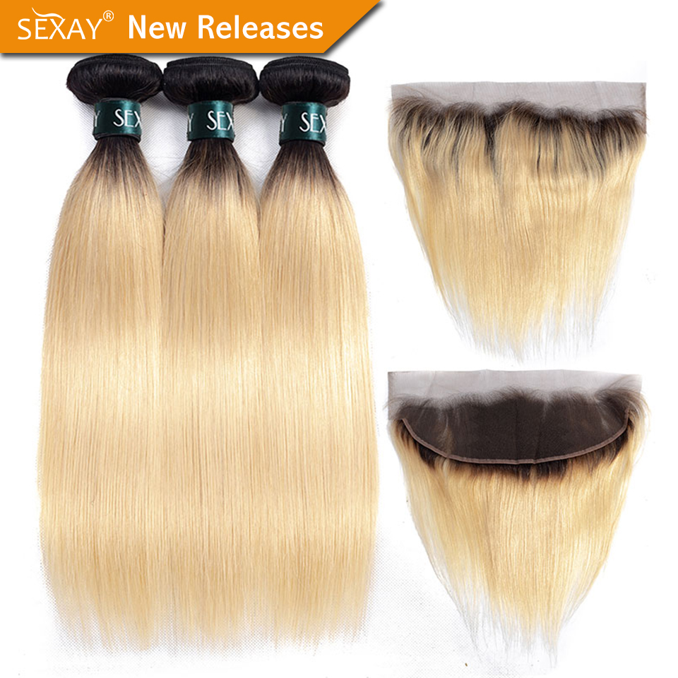 1B 613 Bundles With Frontal SEXAY Brazilian Straight Hair 613 Blonde Hair Bundles With 13x4 Lace