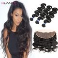 8A Full lace Frontal closure with bundles 13x4 Peruvian virgin hair with closure Body Wave human hair With closure 3bundles