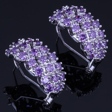 Charismatic Purple Cubic Zirconia 925 Sterling Silver Clip Hoop Huggie Earrings For Women V0882