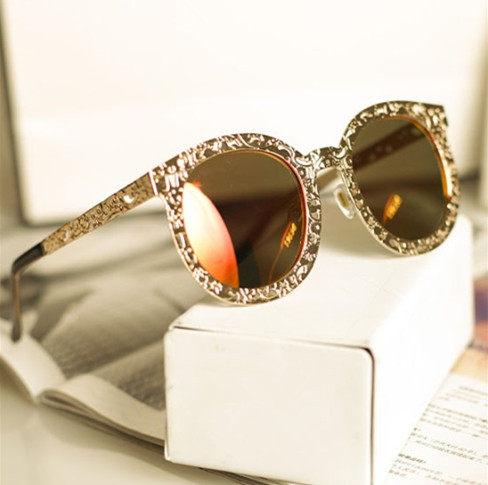 2015 new super luxury vintage hollow out metal brand designer big round fashion sun glasses What style glasses are in fashion 2015