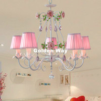 Modern White Pink Rose Style Chandelier Light Luxury Decorative Pendant Lamp Indoor Iron Crystal Chandelier Dining Room Lighting