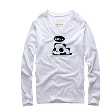 Funny Panda 2016 new brand Men tide tshirt Long Sleeve and Casual T-shirt Men Long Sleeve Soft Cotton Tees and Tops for Men