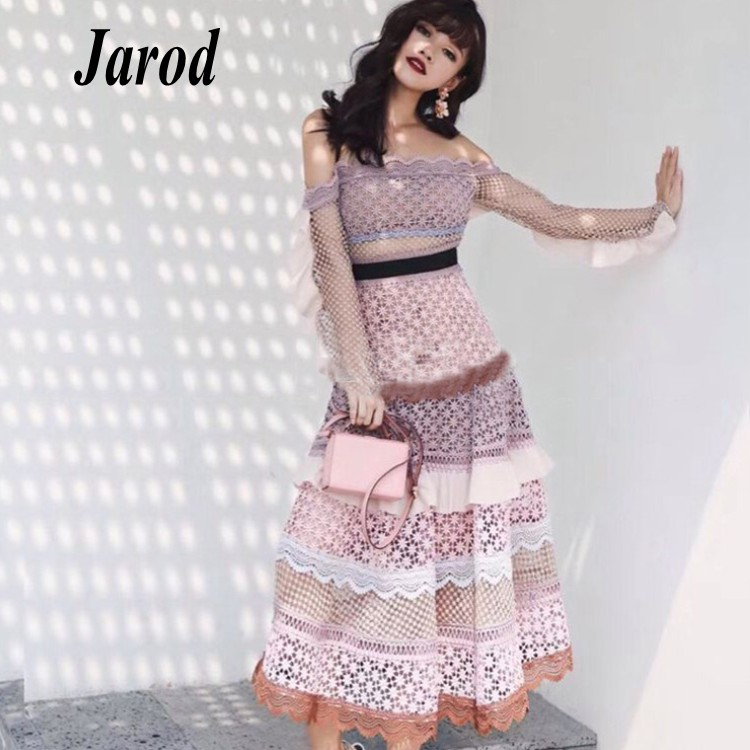 Runway Party Dress 2018 Self Portrait Pink color patchwork chic lace Midi Dresses sexy Slash Neck Long dress Vestidos