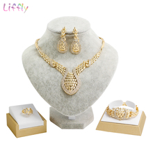 Liffly Bridal Jewelry Sets Necklace Earrings Fashion Dubai Gold for Women Nigerian Wedding Set