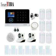SmartYIBA RFID WIFI Wireless GSM SMS Home Alarm System 2pcs IP Security Cameras Alarm Kit Smoke