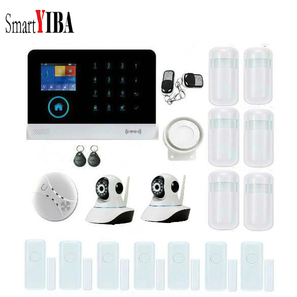 SmartYIBA RFID WIFI Wireless GSM SMS Home font b Alarm b font System 2pcs IP Security
