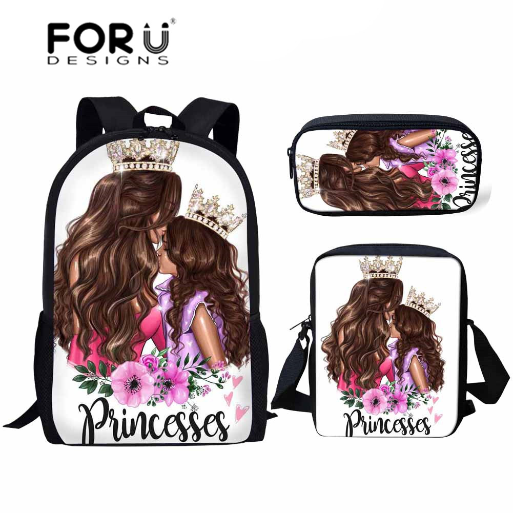 FORUDESIGNS Queen Princess Super Mom&Baby Printing School Bags For Girls 3pcs/set Primary School Bag Children School Backpack