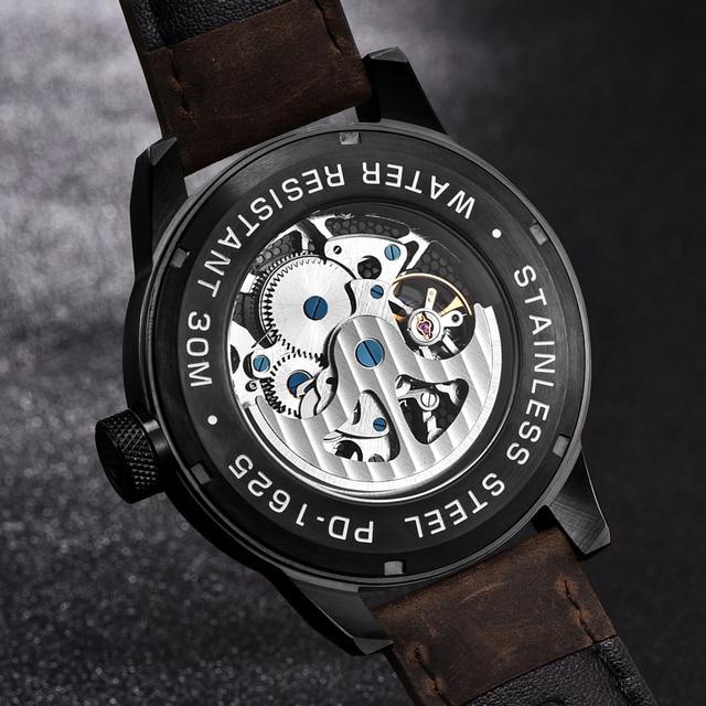 Classic Skeleton Mechanical Waterproof Genuine Leather Watch 4