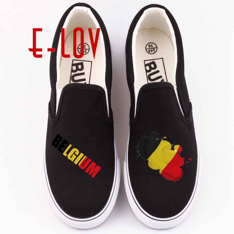 E-LOV Fashion Hand Printing Country Flags Shoes Printed Belgium National Emblem Canvas Shoe Belgian Loafers Women Flats vintage embroidery women flats chinese floral canvas embroidered shoes national old beijing cloth single dance soft flats