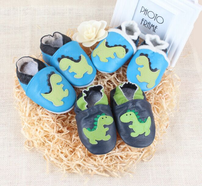 Cartoon Cow Leather Baby Moccasins dinosaur Print Soft Soled Newborn 2016 Baby Girl Shoes Boy Toddler First Walker