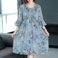 Plus Size Fashion 2019 New Women Dresses Casual Chiffon Silk Summer Dress Elegant Print Loose Office Lady Vintage Dress
