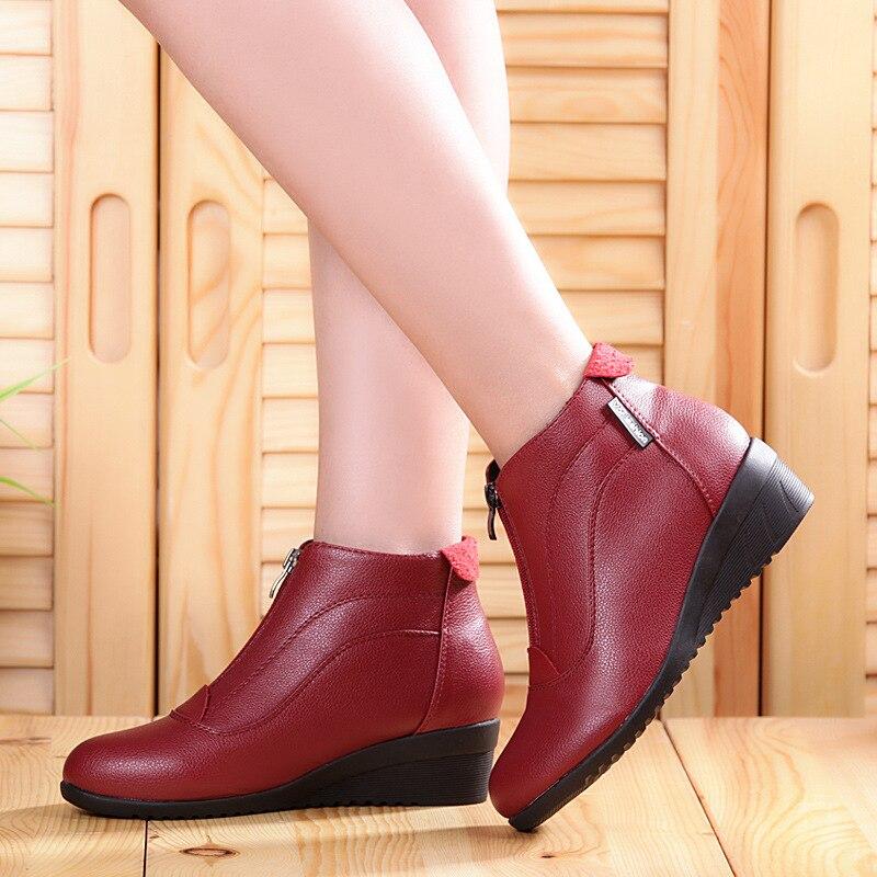 Botas de Invierno para mujer 2019 botas de nieve con tacones de cuña Zapatos Mujer Zapatos de invierno para casuales de piel cálida zapatos de mujer con cremallera botas de Mujer