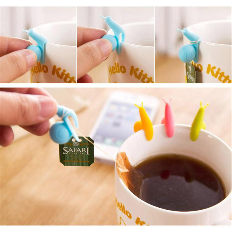 6pcs/lot Snails Wine Glass Labels Silicone Tea Mug Cup Of Tea Bag Glass Markers Drinking Label Glasses Marker