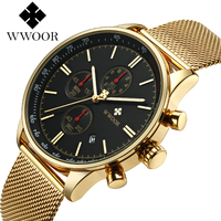 WWOOR Mens Chronograph Black Stainless Steel Mesh Strap Military Sport Quartz Wrist Watches with Luminous Hands