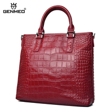GENMEO New Alligator Genuine Leather Handbag Women Luxury Shoulder Bags Female Fashion Cowhide Leather Tote Bag Bolsa Feminina new brand women handbag top natural cowhide women messenger bags luxury genuine leather shoulder bag fashion female tote bag