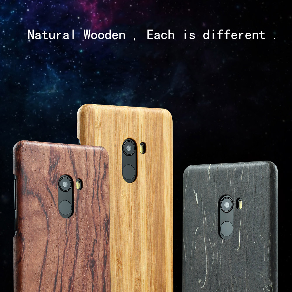 Natural Wooden phone case FOR Xiaomi mi mix 2 mix2 case cover bamboo Walnut Rosewood Black