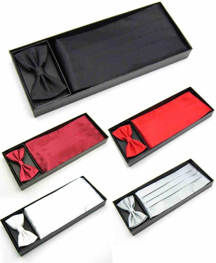 Mens Wedding Tuxedo Bow Tie Set Cummerbund Hanky Pocket Towel Black Red White Silver Solid Bowtie Cravat