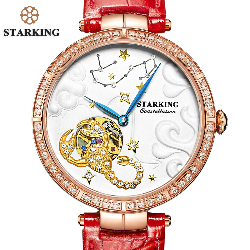 STARKING Constellation Scorpio Watch Women Genuine Leather Animal Shape Watch Dress Fashion Auto Mechanical Wrist TimepiecesSTARKING Constellation Scorpio Watch Women Genuine Leather Animal Shape Watch Dress Fashion Auto Mechanical Wrist Timepieces