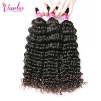 Vanlov Hair Brazilian Deep Wave Bundles Remy Human Hair Extensions Hair Weave Bundles 3PCS Natural Black