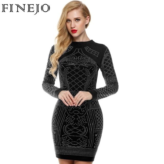 9219f4cc00c98a FINEJO Women Autumn Bling Sequin Bodycon Dress Sexy Geometric Retro O-neck  Long Sleeve Elegant