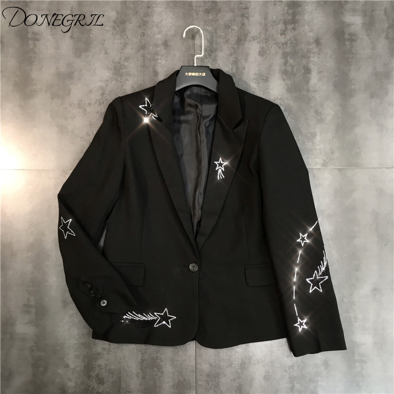 Suit Jacket Blazers Rhinestone-Pattern Shiny High-Quality Coat Female New-Fashion Hot-Drilling