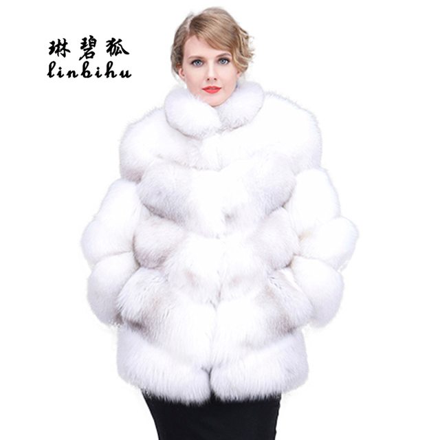 Fox Fur Coat Genuine Fur Coat Women Outerwear Fashion Winter Warm Solid Natural Furry Lady Natural Thick Real Fur Jacket Female