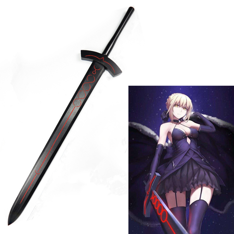 Fate Stay Night Saber Arthur Pendragon Black White Excalibur Sword Steel Cosplay Prop Wooden Weapon 114CM
