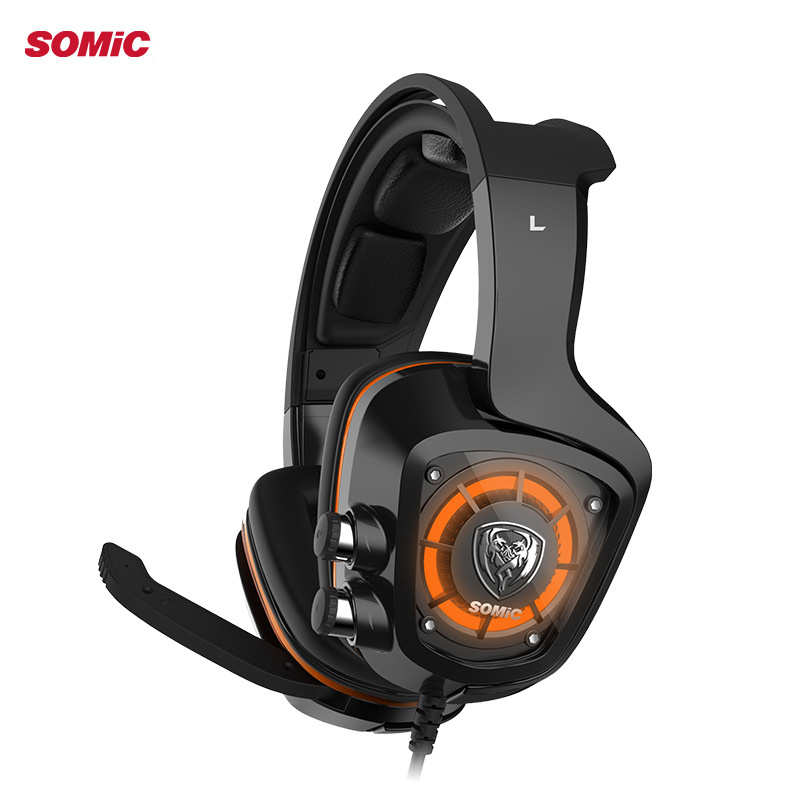 SOMIC G910 Gaming Headphones with Microphone LED Wired Headset Gamer Headphone 4D Stereo Bass USB Headphones original xiberia v5 gaming headphone super bass stereo usb wired headset microphone over ear noise lsolating pc gamer headphones