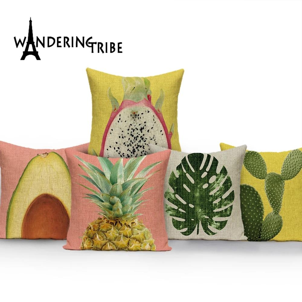 tropical leaves fabric outdoor cushions custom throw pillows pineapple pillow cushions decorative dropshipping cushion cover