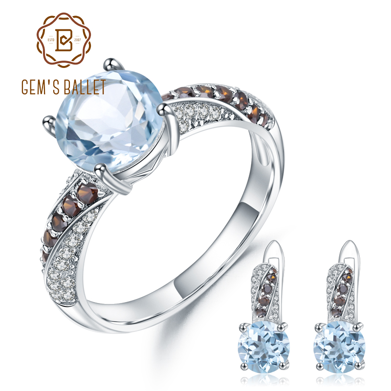 GEM S BALLET 5 90ct Oval Natural Sky Blue Topaz Smoky CZ Jewelry Set 925 Sterling