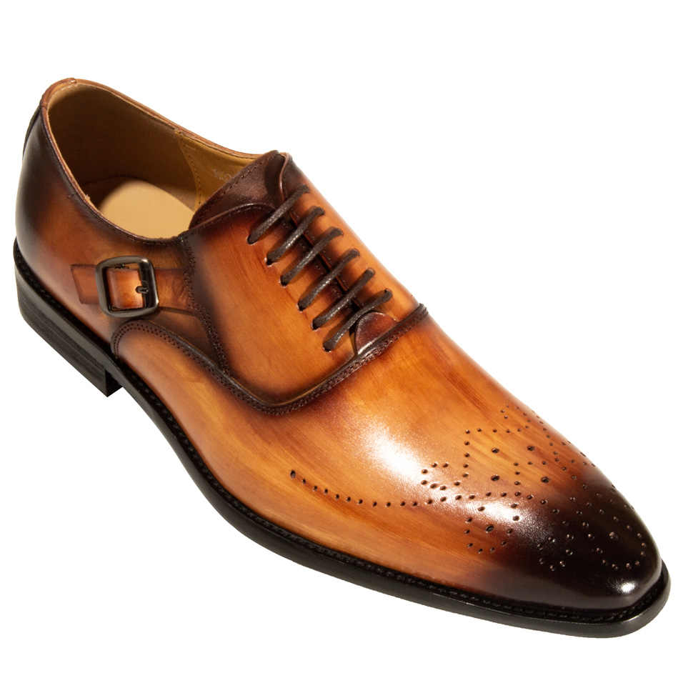 ... Men Dress Shoes Leather Buckle Strap Office Business Wedding Handmade  Mixed Color Brogue Formal Pointed Toe ... f75f30da55be