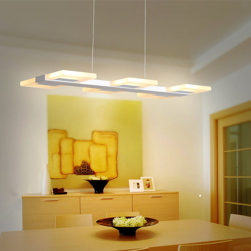 Kitchen Suspended LED Pendant Lights Modern Kitchen Acrylic Suspension  Hanging Lamps Dining Table Lighting For Dinning