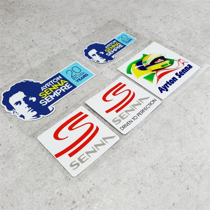 5 styles Forever Senna SEMPRE AYRTON Car Stickers Motorcycle Helmet Phone Sticker Decals Reflective Moto GP Driver