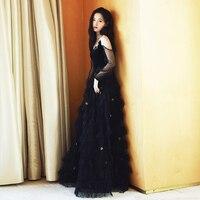 Runway Designer 2019 Black Long Dress Summer Women Velvet Mesh Patchwork Maxi Dress Elegant Party Vestidos Robe Femme
