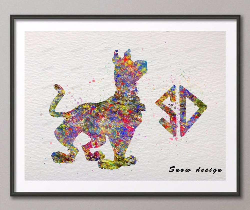 Original Watercolor Scooby Doo canvas painting wall art poster print Pictures Living room Nursery home Decor wall hanging gifts скуби ду лего