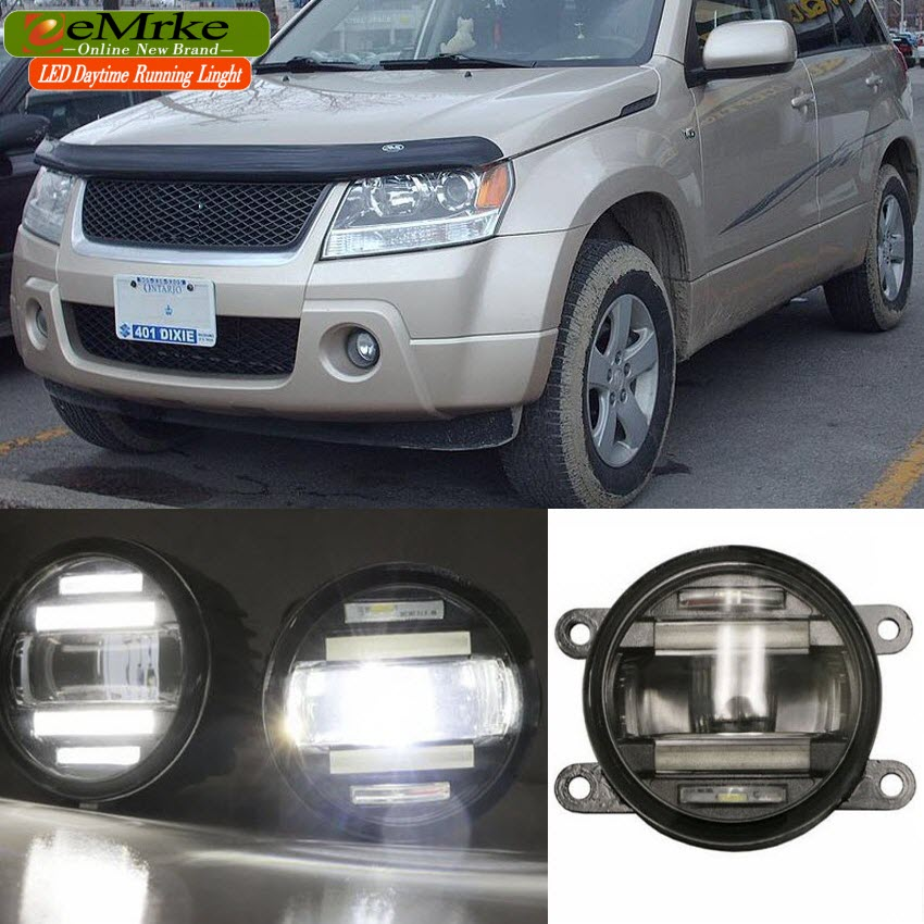 eeMrke Xenon White High Power 2in1 LED DRL Projector Fog Lamp With Lens For Suzuki Grand Vitara Nomade Escudo 2007-2015 eemrke xenon white high power 2in1 led drl projector fog lamp with lens for suzuki sx4 2008 2016