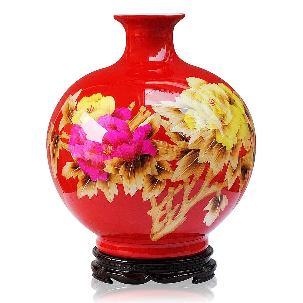 Ceramics China Red Peony straw vase modern and stylish furnishings ornaments crafts furnishings